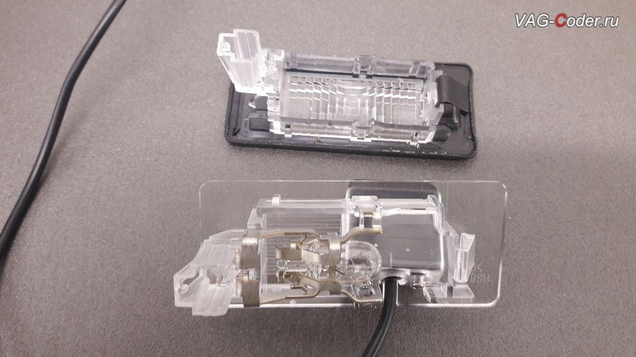 Skoda Oсtavia A7-2014м/г - переборка штатного плафона освещения номерного знака под установку камеры заднего вида от VAG-Coder.ru