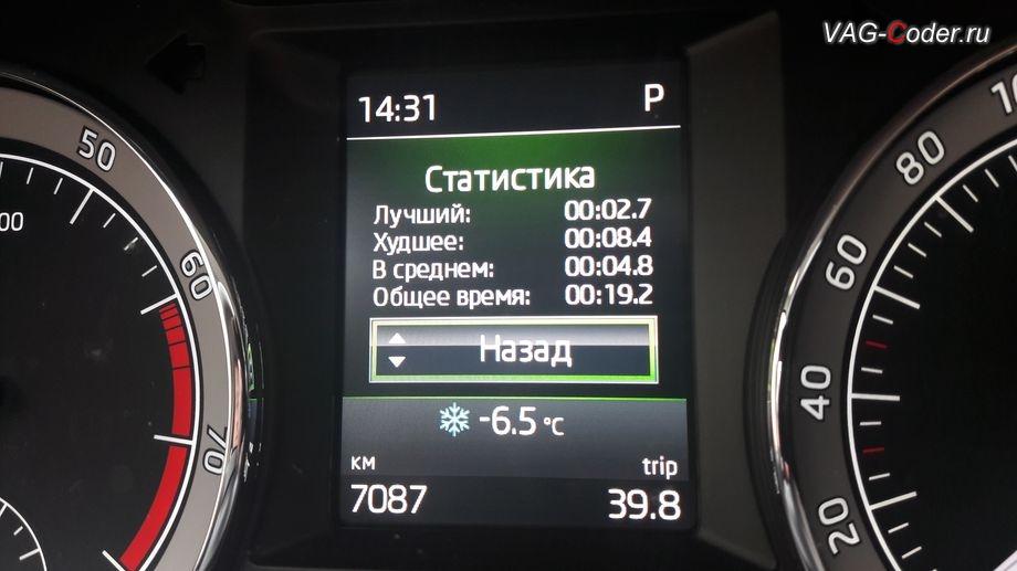 Skoda Octavia A7 FL-2018м/г - отображение результатов Статистики меню функции Таймер кругов в панели приборов от VAG-Coder.ru