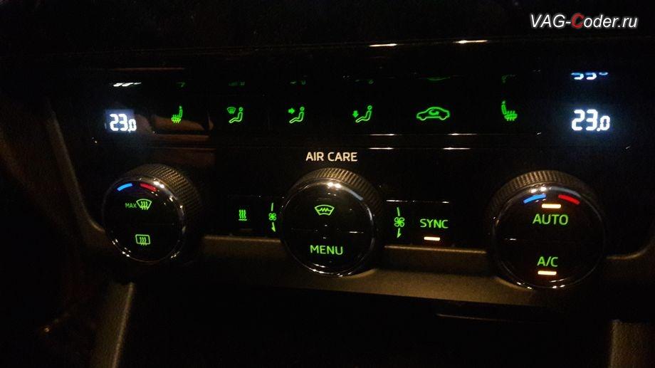 Skoda Octavia A7 FL-2018м/г - в стоке при работе климата в режиме AUTO нет отображения индикации скорости обдува, кодирование и активация скрытых функций от VAG-Coder.ru