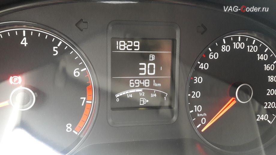 VW Polo-2014м/г - активация функции отображения свободного Место в баке в панели приборов, замена красной панели приборов на белую от VAG-Coder.ru