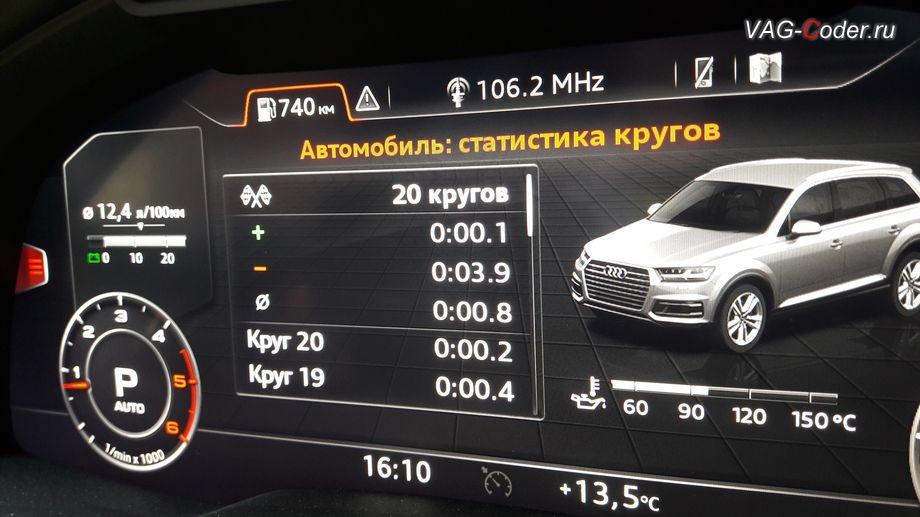 Audi Q7 new(4M)-2017м/г - просмотр данных функции Статистика кругов от VAG-Coder.ru