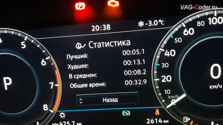VW Tiguan NF-2018м/г - отображения Статистики функции Таймер кругов от VAG-Coder.ru