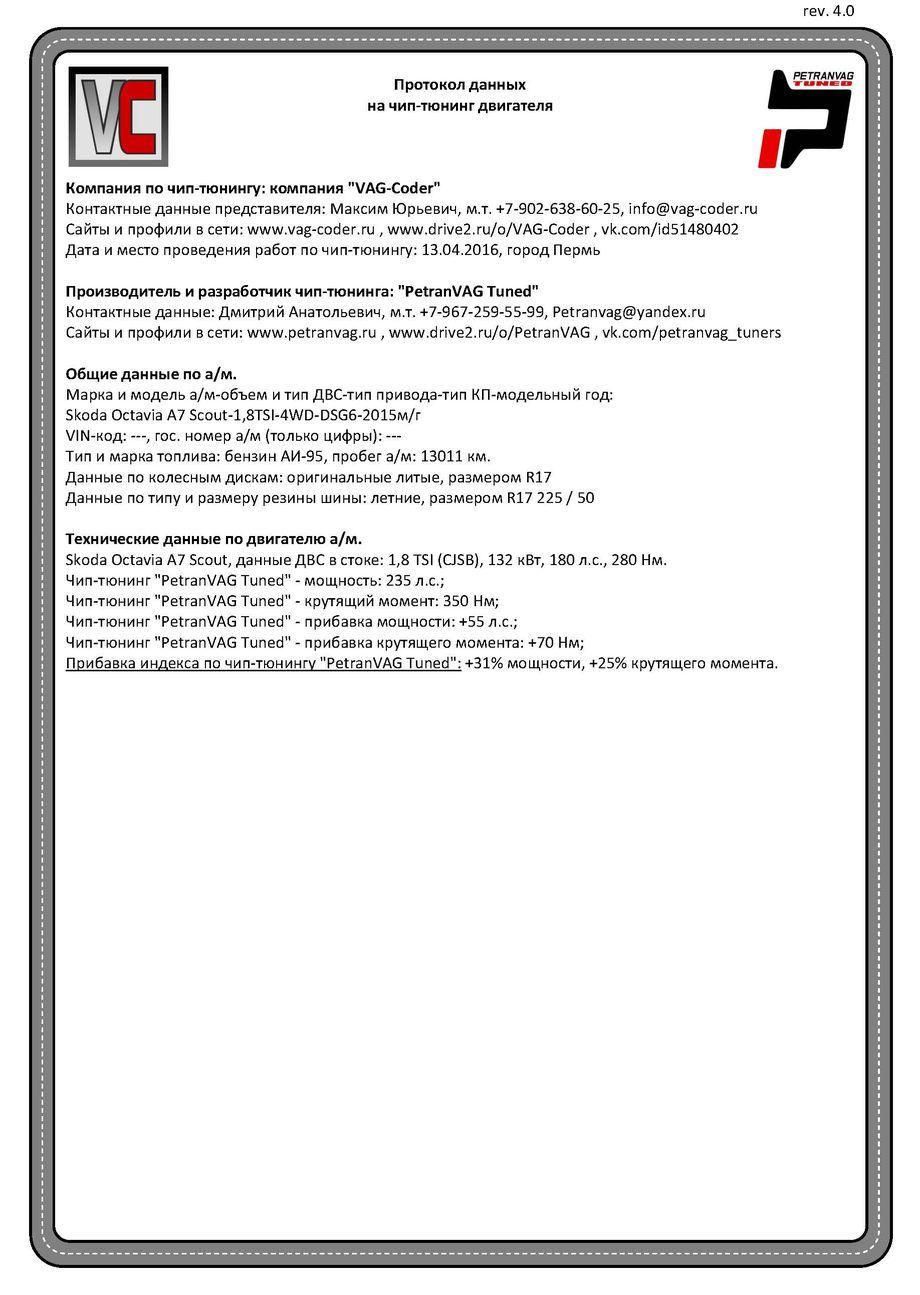 Протокол данных на чип-тюн от VAG-Coder