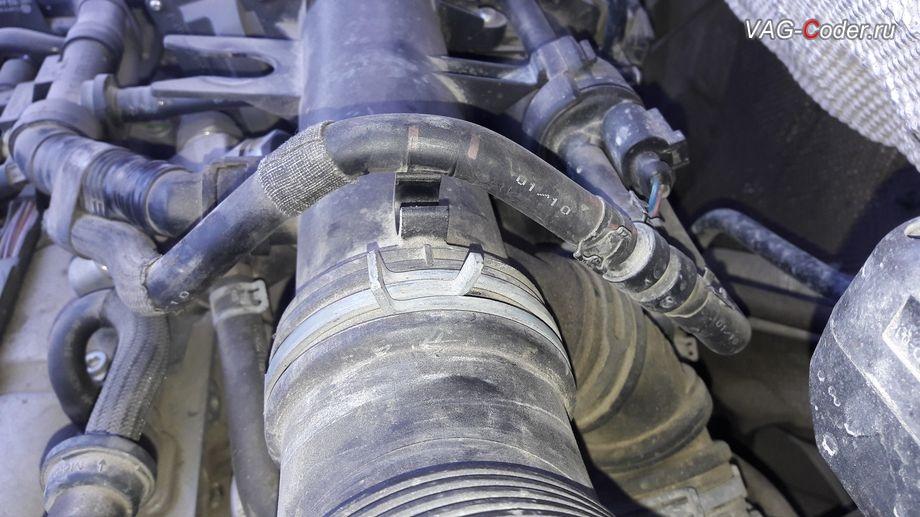 VW Tiguan-2010м/г - результат проверки герметичности впускного тракта двигателя дымогенератором от VAG-Coder.ru выявил проблему подсоса воздуха на патрубках вентиляции картерных газов (справа - патрубок идет на маслоотделитель, слева - патрубок с картера возле маслозаливной гороловины)